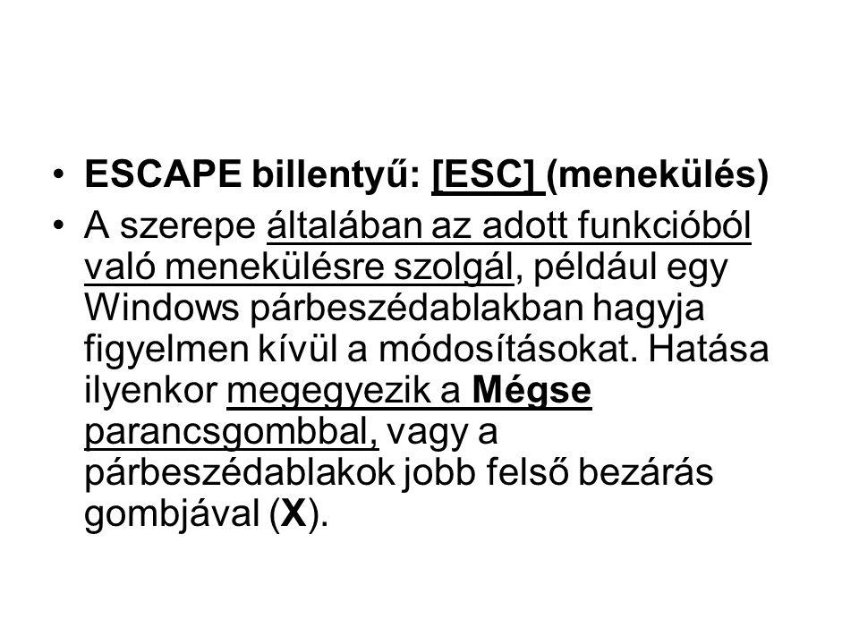 ESCAPE billentyű: [ESC] (menekülés)